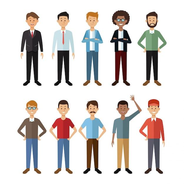 白い背景フルボディグループの世界の男性の人々 Premiumベクター
