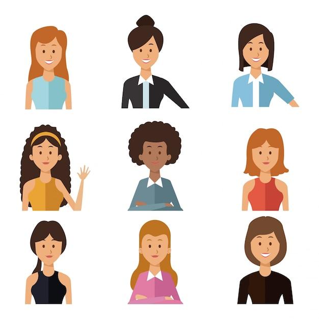 セット半分の体のグループの人々の女性と白い背景 Premiumベクター