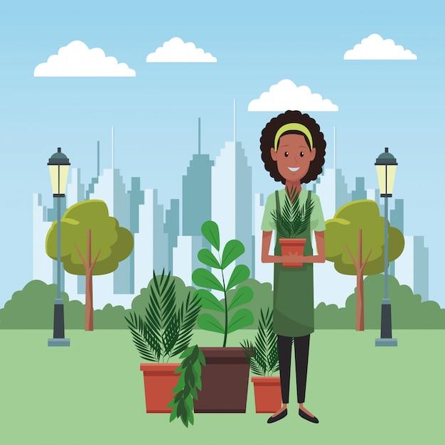 庭と庭師 Premiumベクター