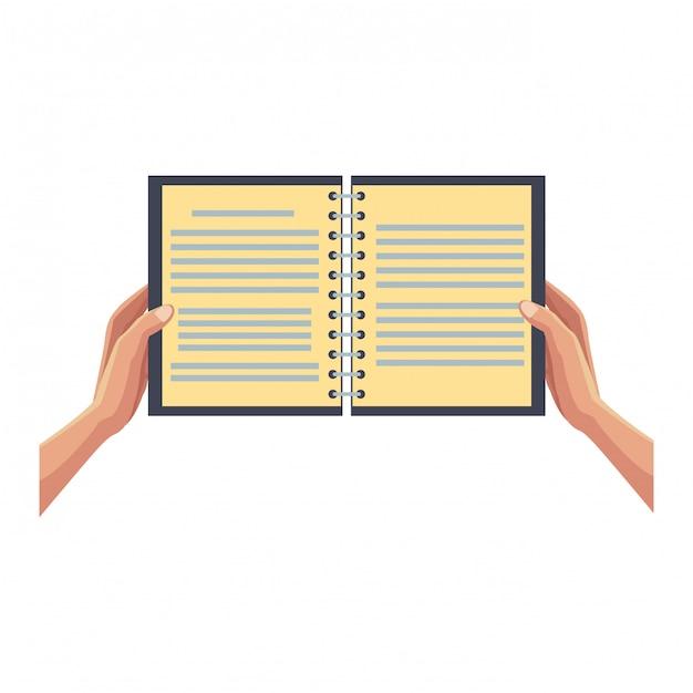 ノートブックを開くと手 Premiumベクター