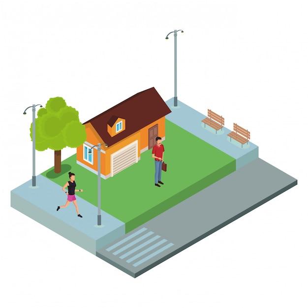 家の人々 Premiumベクター