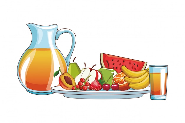 オレンジジュースとフルーツ Premiumベクター