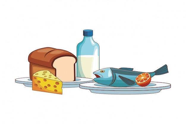 Рыба с хлебом Premium векторы