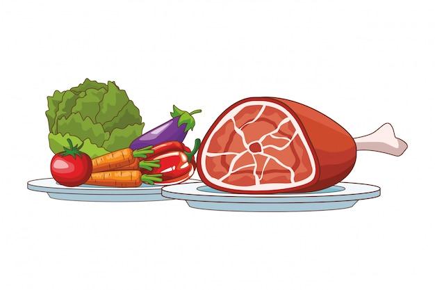 野菜と豚肉 Premiumベクター