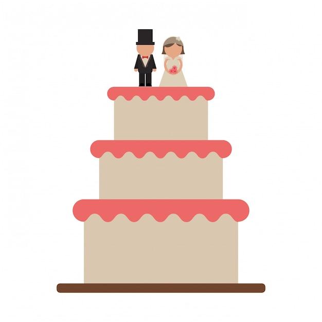 新郎と新婦のウェディングケーキ Premiumベクター