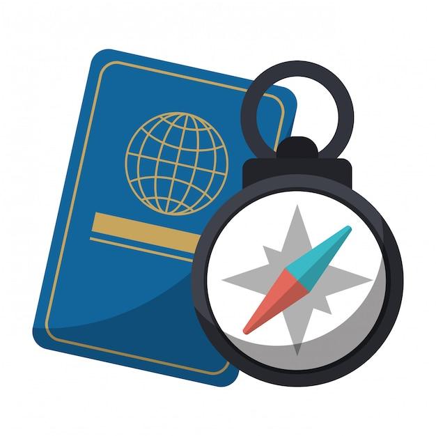 パスポートとナビゲーションコンパス Premiumベクター
