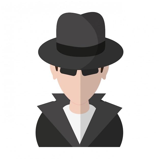 泥棒ハッカーのアバターのシンボル Premiumベクター