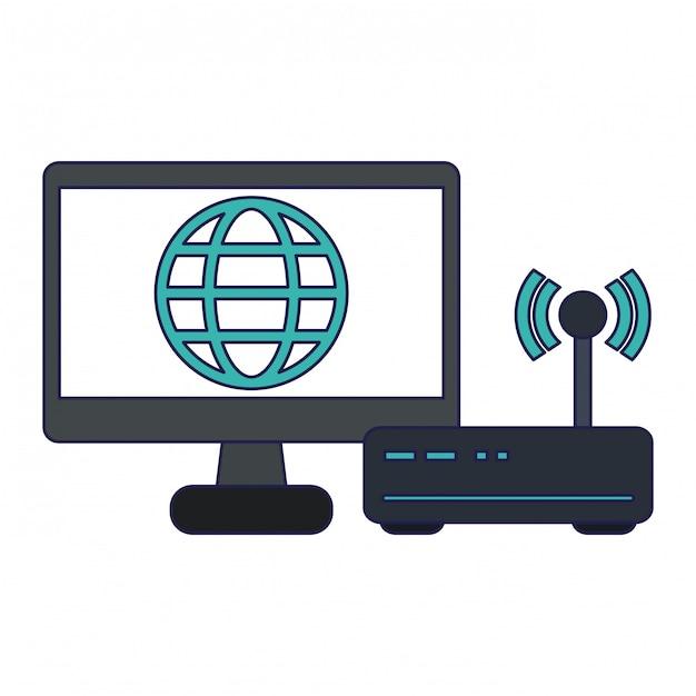 グローバルシンボルとコンピューターの画面 Premiumベクター