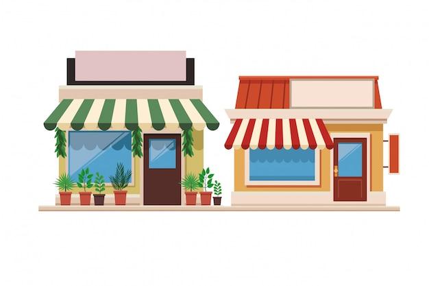Магазины магазины фронт мультфильм Premium векторы