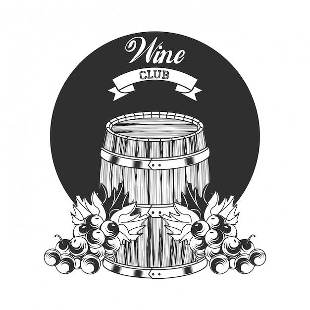 ワインクラブの紋章 Premiumベクター
