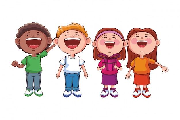 子供たちの幸せな笑顔 Premiumベクター