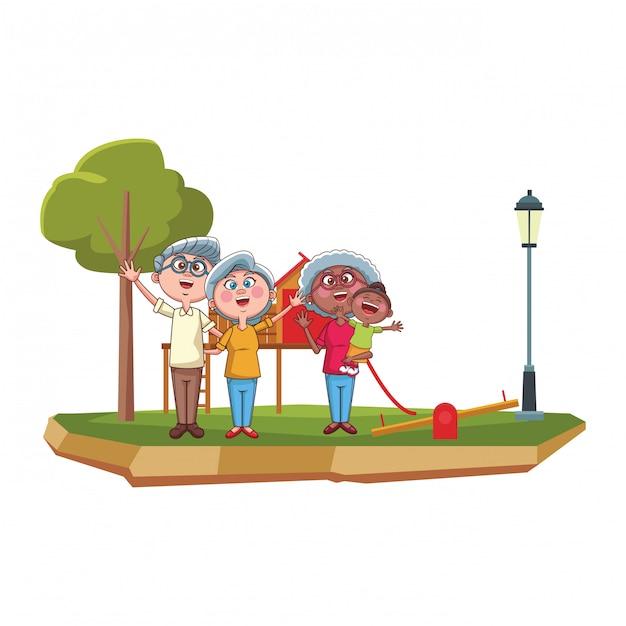 祖父母と孫娘の公園 Premiumベクター