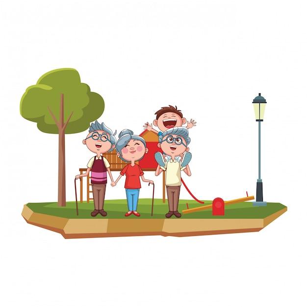 祖父母と孫の公園 Premiumベクター