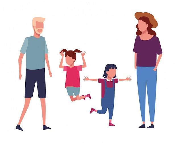 家族と子供の漫画 Premiumベクター