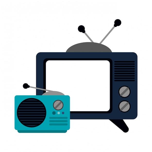 古いテレビとラジオの漫画 Premiumベクター