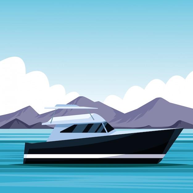 ヨットボート漫画 Premiumベクター