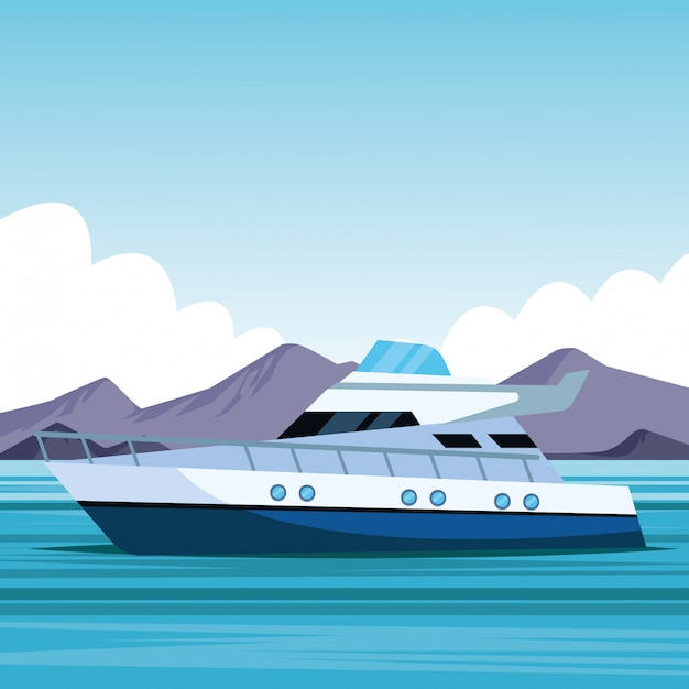 Мультфильм яхты Premium векторы