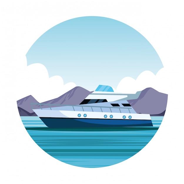 Яхта лодка мультфильм значок Premium векторы
