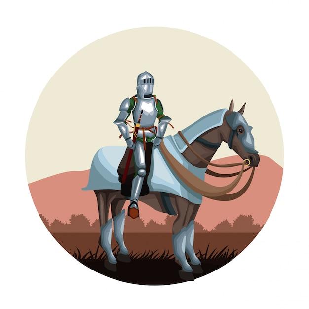 馬の丸いアイコンで中世の戦士 Premiumベクター