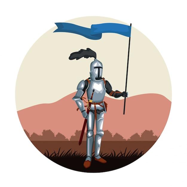 中世の戦士ラウンドアイコン Premiumベクター