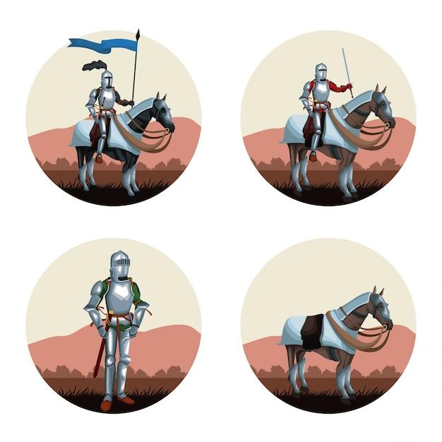 中世の戦士たちはアイコンを丸める Premiumベクター