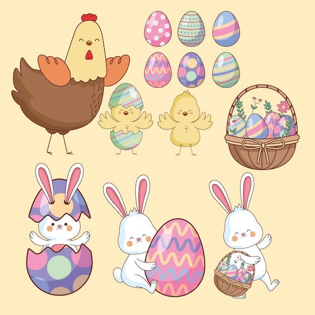 イースターの日の動物と卵 Premiumベクター
