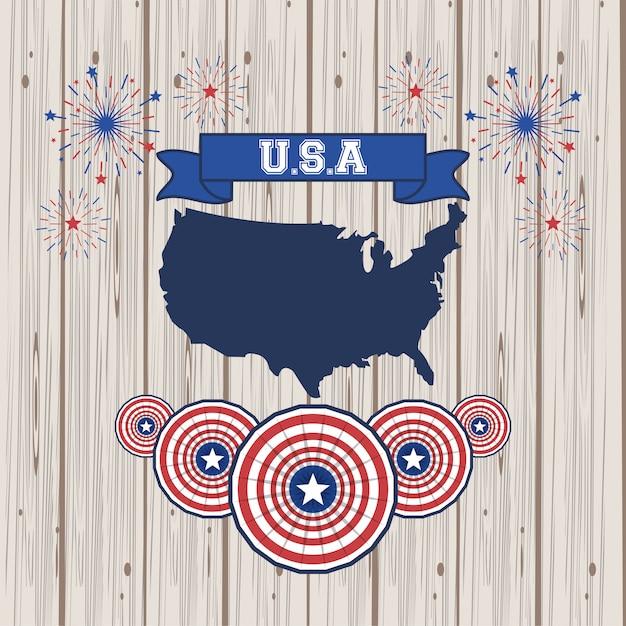 アメリカ合衆国のポスター Premiumベクター