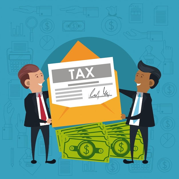 納税日のシンボルと漫画 Premiumベクター