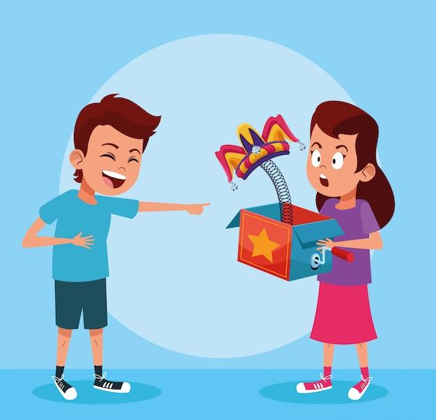 エイプリルフールの男の子と女の子の漫画 Premiumベクター