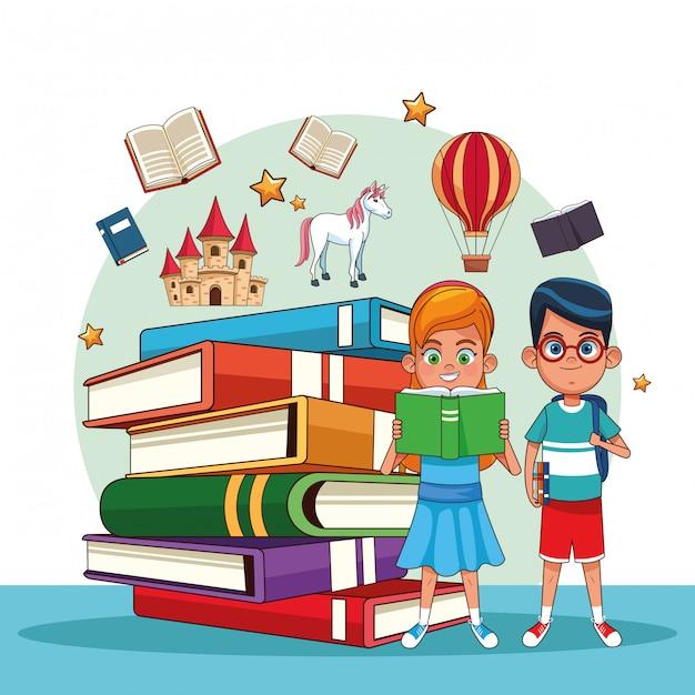 おとぎ話を読む子供たち Premiumベクター