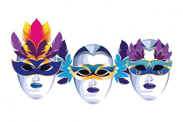 羽とマスクのセット Premiumベクター