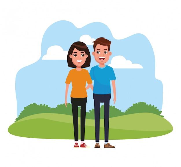 若いカップルの漫画 Premiumベクター