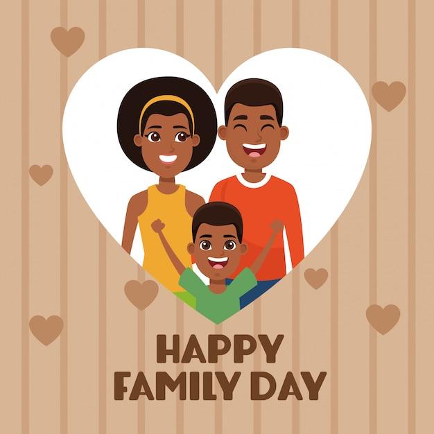幸せな家族の日カード Premiumベクター
