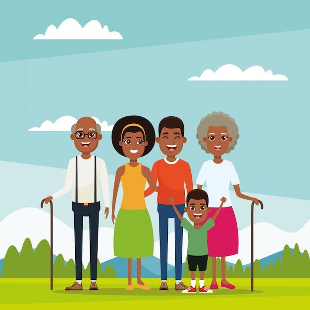 子供と家族の漫画 Premiumベクター