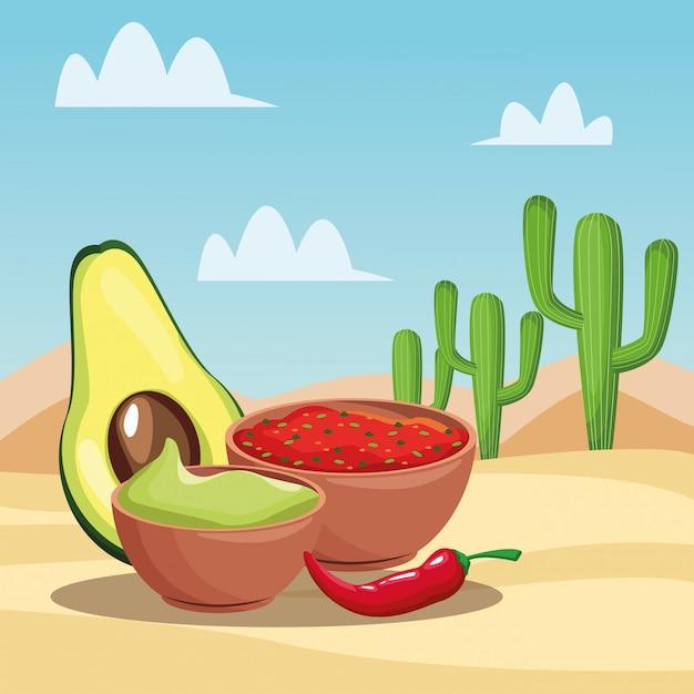 メキシコ料理の漫画 Premiumベクター