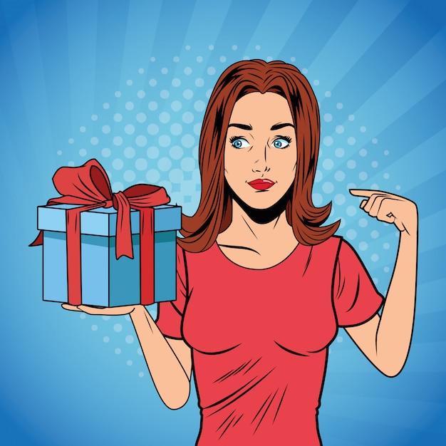 ポップアートの女性の誕生日ギフトボックスの漫画 Premiumベクター