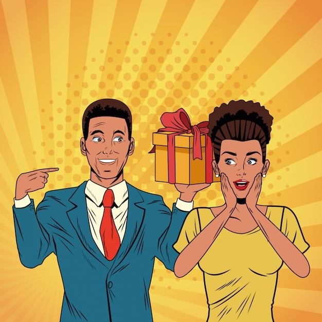 現在の漫画とポップアートビジネスカップル Premiumベクター