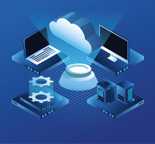 仮想テクノロジコンピュータとサーバー Premiumベクター