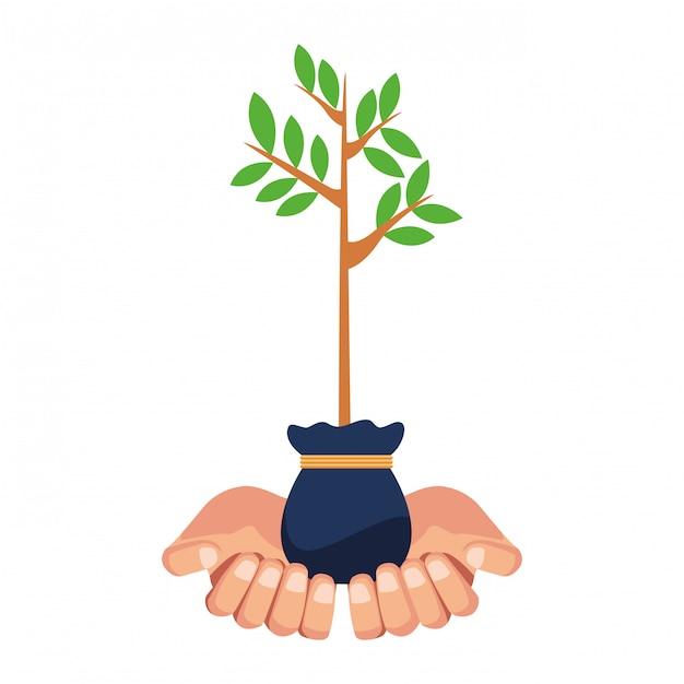 成長バッグに植物を持っている手 Premiumベクター