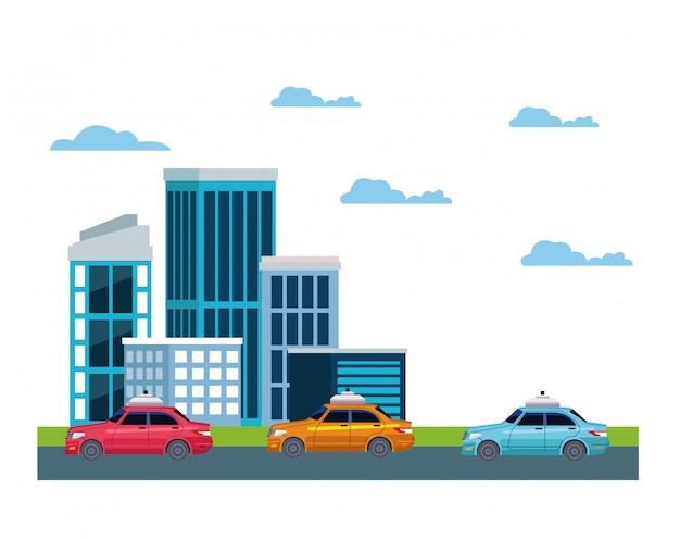 Такси в значок городской пейзаж Бесплатные векторы
