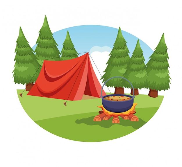農村景観におけるキャンプの要素 無料ベクター