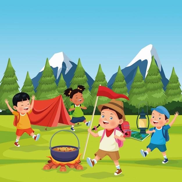 キャンプゾーンの子供たち 無料ベクター