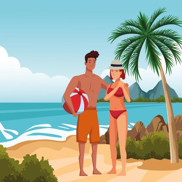 夏の漫画を楽しむ若いカップル 無料ベクター