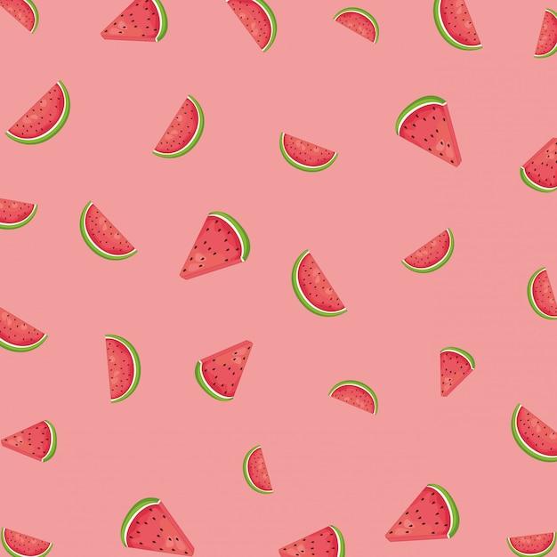 スイカピンクのフルーツパターン背景 無料ベクター