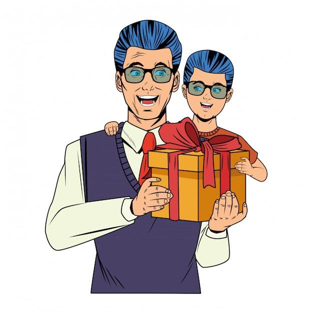 Мужчина несет мальчика с подарочной коробкой Бесплатные векторы