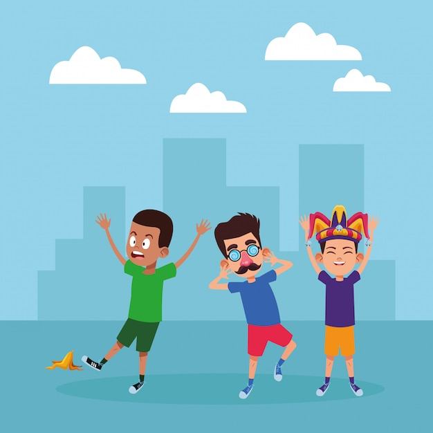 Молодые дети аватар картонного персонажа Бесплатные векторы