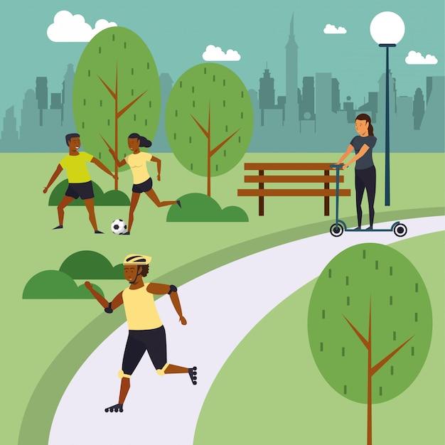 フィットネスの人々が公園でトレーニング 無料ベクター