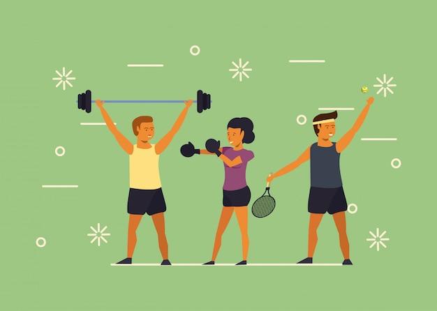若い人たちのトレーニングスポーツ漫画 無料ベクター