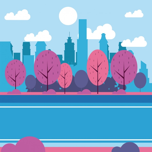 Городской парк пейзажей Бесплатные векторы