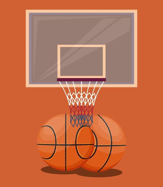 バスケットボールスポーツゲームオレンジ色の背景の項目 無料ベクター